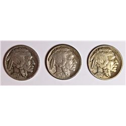 THREE BUFFALO NICKELS: