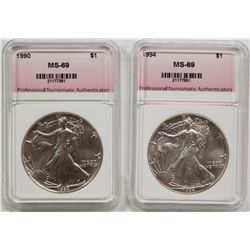 1990 AND 1994 AMERICAN SILVER EAGLES