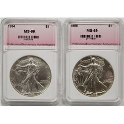 1988 AND 1994 AMERICAN SILVER EAGLES