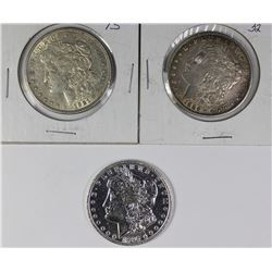 THREE MORGAN SILVER DOLLARS
