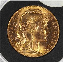 1913 FRANCE 20 FRANCS GOLD