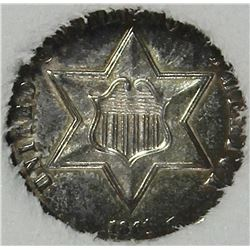 1861 THREE CENT SILVER TYPE 3