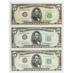 (3) 1950-B $5.00 FEDERAL RESERVE STAR NOTES