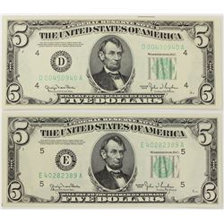 TWO 1950 $5.00 FEDERAL RESERVE NOTES: BOTH WIDE