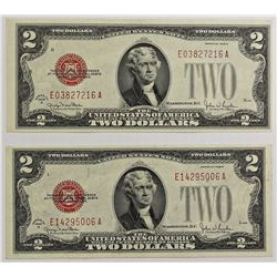 2 PCS. 1928-G $2.00 NOTES