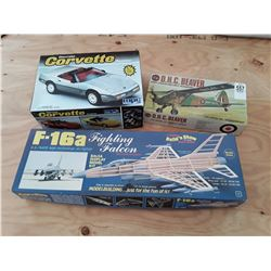 2 Model Planes and Model Corvete In Box (Contents Look Complete)