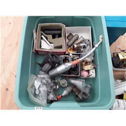 Tote of RC Plane Motors, Parts, and Supplies