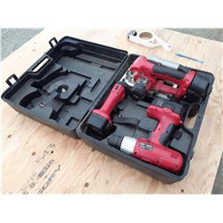 Einhell Drill, Skillsaw, Light, and 3 Batteries With Case