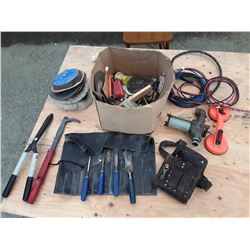 Box of Misc Tools and Leather Tool Pouch