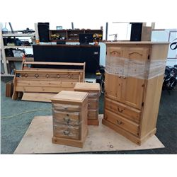 Pine Bedroom Suite, 2 Night Stands, Dresser, Headboard, Footboard W/Rails & Box Spring