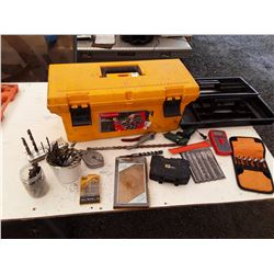 Rubbermaid tool box full of drill bits and more