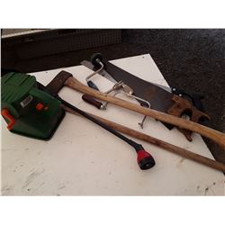 lot of miscellaneous shop tools and two saws