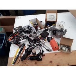 Box of RC Plane Parts, Controllers, and More