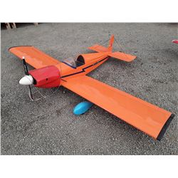 "Large Orange RC Plane With Fuel Powered Motor - 84"" Wingspan"