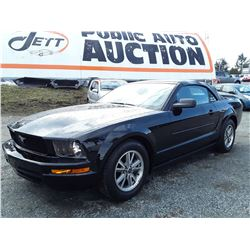 """2005 FORD MUSTANG CONVERTIBLE , Black , 103459  KM's """"NO RESERVE"""" Selling at 12:00 (noon)"""