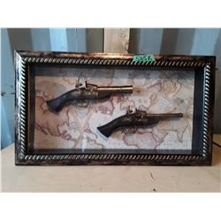 Replica Flintlock Pistols Framed In Picture Box