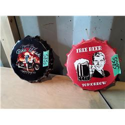 2 Retro Style Metal Bottle Cap Signs. Apx 8""