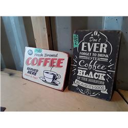 "2 Vintage Style Metal Signs Apx 12"" x 6"" - Coffee"