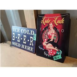"2 Vintage Style Metal Signs Apx 12"" x 6"" - Beer"