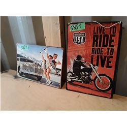 "2 Vintage Style Metal Signs Apx 12"" x 6"" - Motorcycle"