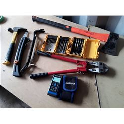 Lot of Tools - Dewalt Drill Bit Set, Dewalt Driver Set, Bolt Cutters, Axe, Laser Tool and More