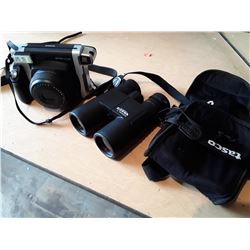 Sierra By Tasco 10x42 Waterproof Binoculars With Case and Fuji Instax Wide 300 Camera Value $180 New