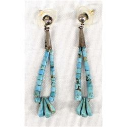 Navajo Sterling Turquoise Bead Earrings