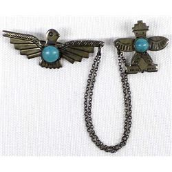 Navajo Old Pawn Sterling Turquoise Pin