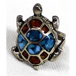 Navajo Old Pawn Sterling Chip Inlay Turtle Ring