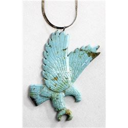 Navajo Carved Turquoise Eagle Pendant Necklace