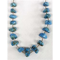 Navajo Shell Heishi Large Turquoise Nugget Necklace