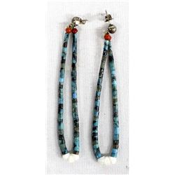 Navajo Turquoise, Jet, &  Coral Jocla Earrings