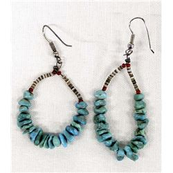 Navajo Turquoise Nugget & Shell Heishi Earrings