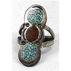 Navajo Old Pawn Sterling Chip Inlay Ring, Sz 7.75