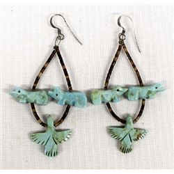 Navajo Turquoise Fetish & Shell Heishi Earrings
