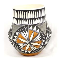 Acoma Hand Painted Ceramic Pottery Jar, A. Poncho