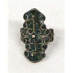 Mexican Sterling Chip Inlay Turquoise Ring, Sz 8