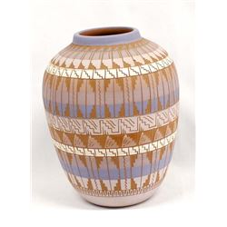 Navajo Carved Pottery Jar by Phillip Nez