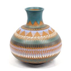 Native American Navajo Carved Pottery Jar