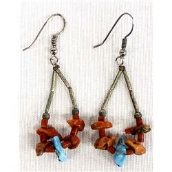 Navajo Sterling Coral & Turquoise Nugget Earrings