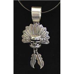Vintage Navajo Sterling Pendant Necklace by Rhoda Jack