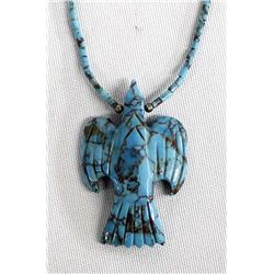 Santo Domingo Carved Turquoise Fetish Necklace