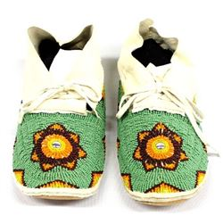 Native American Sioux Beaded Leather Moccasins