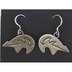 Navajo Sterling Silver Bear Earrings by Alfred Martinez