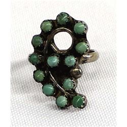 Zuni Old Pawn Sterling Petit Point Turquoise Ring