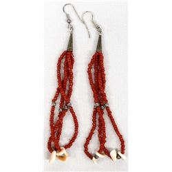 Navajo Sterling, Coral & Red Shell Earrings