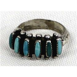 Zuni Old Pawn Sterling Turquoise Ring, Size 6.5