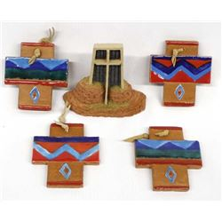 Hand Crafted Pottery Crosses and Church