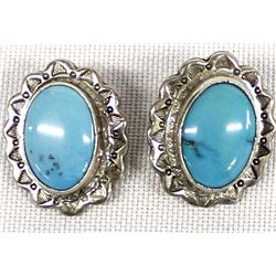Navajo Sterling Turquoise Earrings