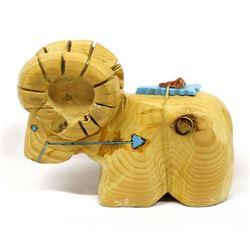Native American Navajo Carved Cedar Bighorn Ram